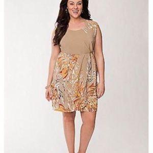 Lane Bryant Tan Floral Sleeveless Dress  o0143